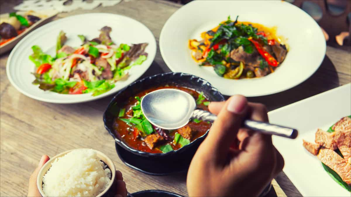A variety of Thai food dishes